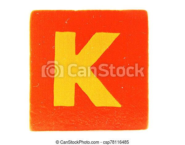 Wooden Children's Toy Alphabet Blocks On White Background - csp78116485