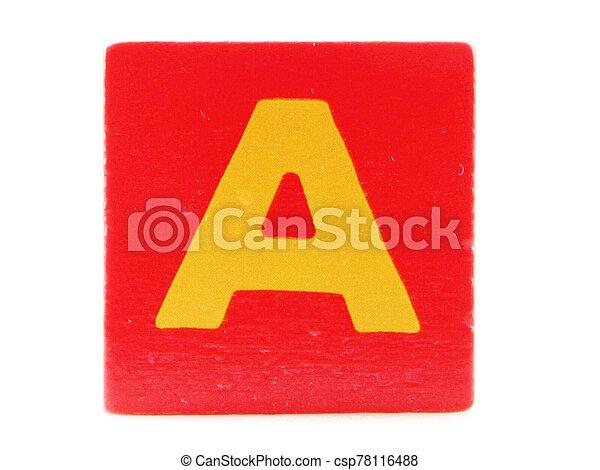 Wooden Children's Toy Alphabet Blocks On White Background - csp78116488