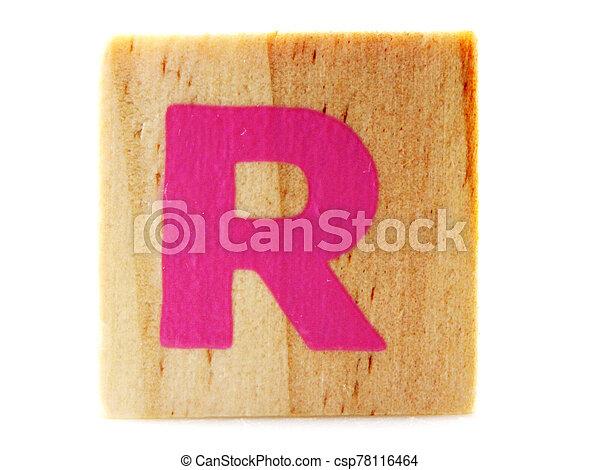 Wooden Children's Toy Alphabet Blocks On White Background - csp78116464