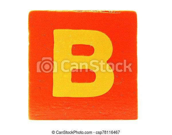 Wooden Children's Toy Alphabet Blocks On White Background - csp78116467