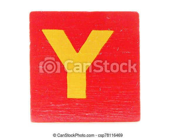Wooden Children's Toy Alphabet Blocks On White Background - csp78116469