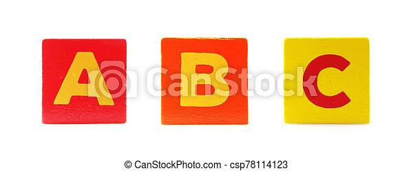 Wooden Children's Toy Alphabet Blocks On White Background - csp78114123