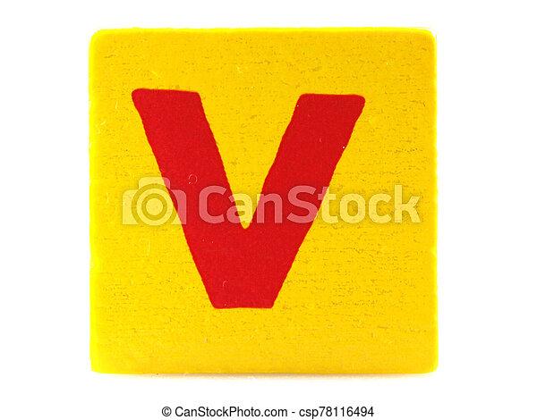 Wooden Children's Toy Alphabet Blocks On White Background - csp78116494