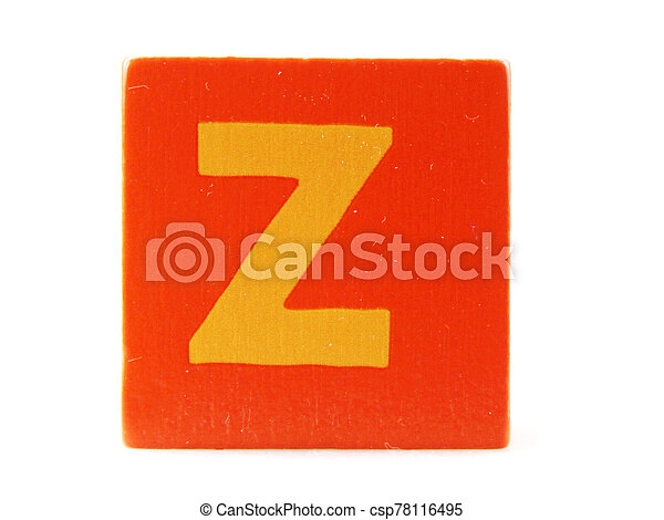 Wooden Children's Toy Alphabet Blocks On White Background - csp78116495