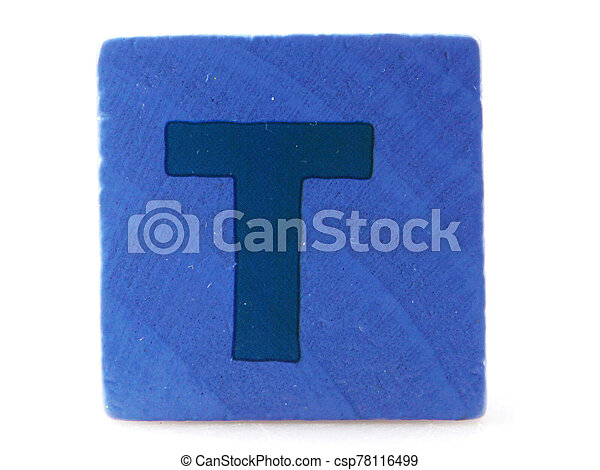 Wooden Children's Toy Alphabet Blocks On White Background - csp78116499