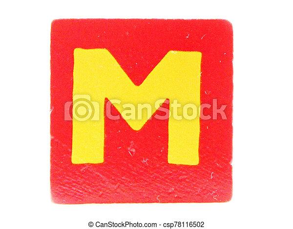 Wooden Children's Toy Alphabet Blocks On White Background - csp78116502