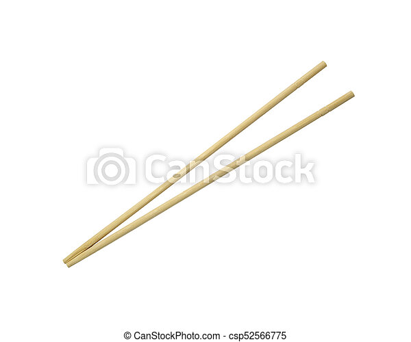 Wooden chopsticks isolated on white background - csp52566775