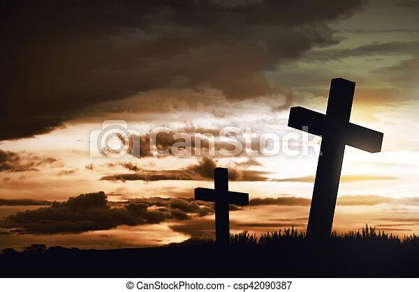 Wooden christian cross - csp42090387
