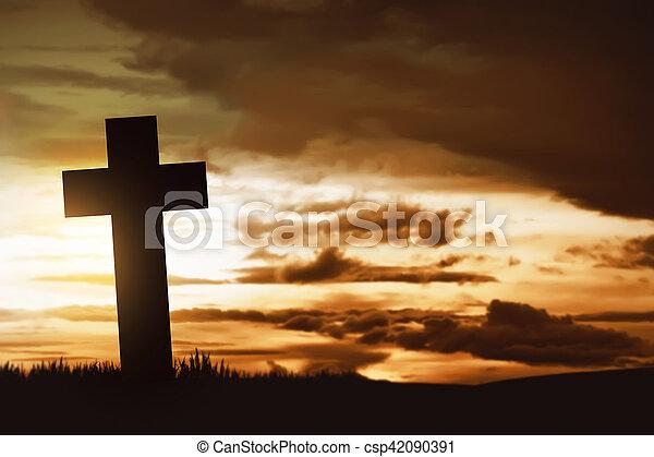 Wooden christian cross - csp42090391