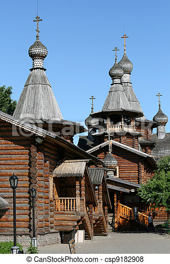 Wooden church in Moscow Russia - csp9182908