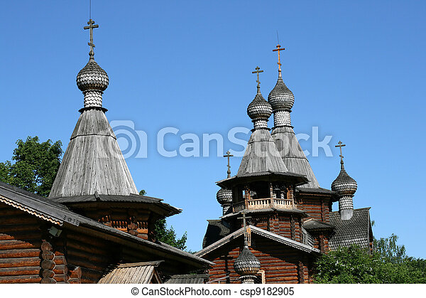 Wooden church in Moscow Russia - csp9182905