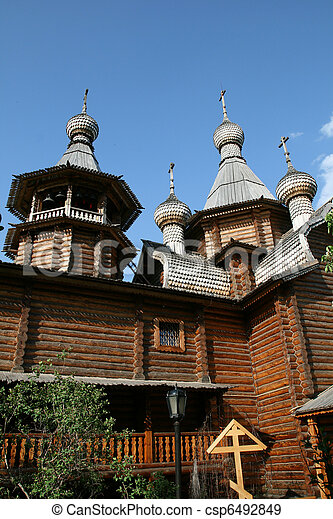 Wooden church in Moscow Russia - csp6492849