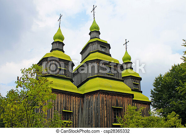 Wooden church in Pirogovo,Ukraine - csp28365332