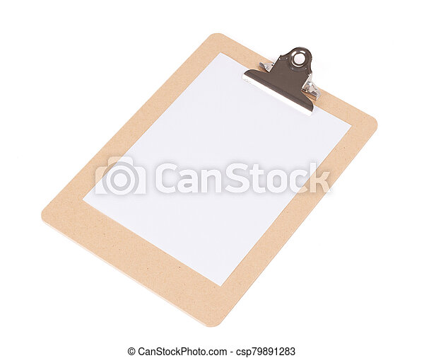 Wooden clipboard isolated on white background - csp79891283