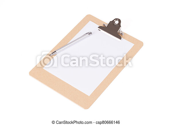Wooden clipboard isolated on white background - csp80666146