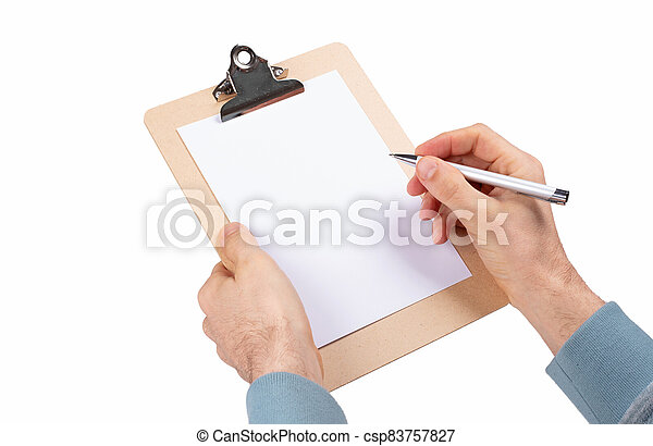 Wooden clipboard isolated on white background - csp83757827
