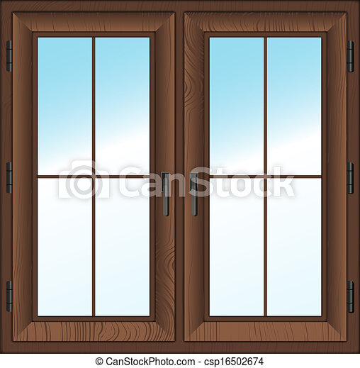 Wooden Closed Double Window Vector Illustration Wooden
