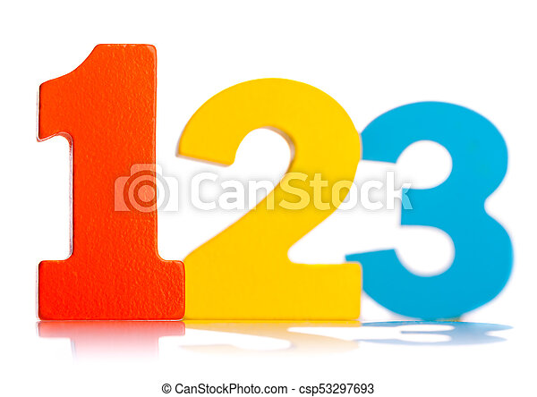Wooden colorful numbers 1 2 3 - csp53297693
