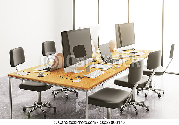 Wooden Conference Table With Office Accessories And Computers - Conference table accessories