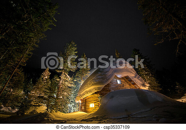 Wooden cottage in snowy forest. - csp35337109