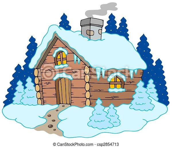 Wooden Cottage In Winter Landscape Stock Illustration