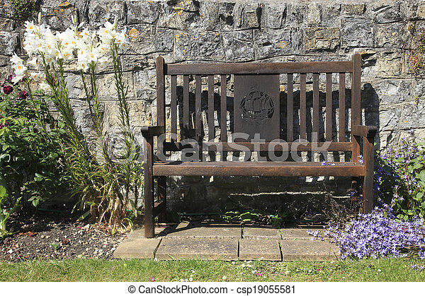 Wooden Country Garden Seat - csp19055581