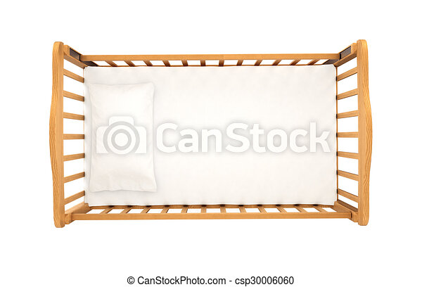 wooden cradle for baby with pillow isolated on white background, top view - csp30006060