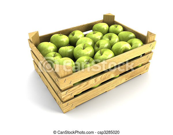 wooden crate full of apples - csp3285020