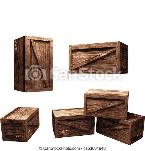 Wooden Crate (vector) - csp3861948