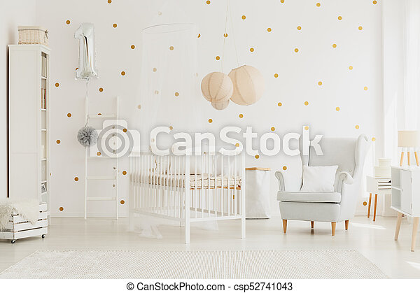 Wooden crib with canopy - csp52741043