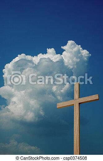 Wooden Cross and Sky - csp0374508