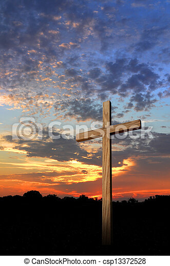 Wooden Cross and Sunset - csp13372528