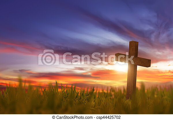 Wooden cross on green grass with sunset - csp44425702