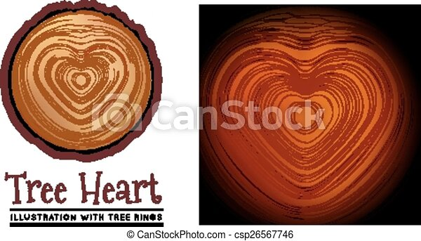Wooden cross section of the heart shape - csp26567746
