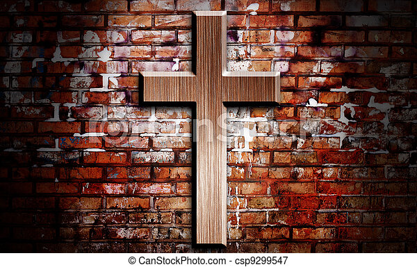 Wooden crucifix on the brick wall lighting by spotlight - csp9299547