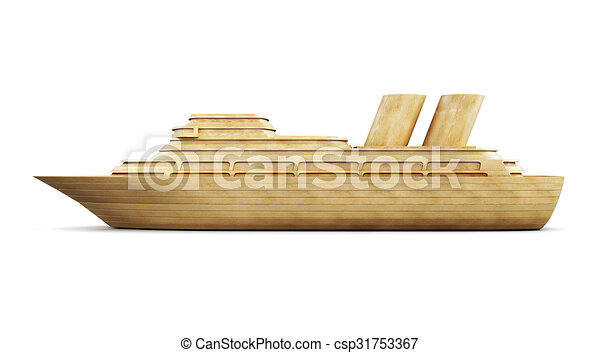 Wooden cruise liner side view. 3d. - csp31753367