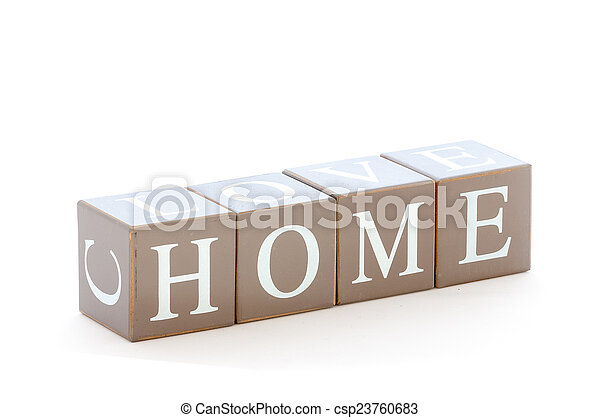 Wooden cubes wit the word home spelled - csp23760683