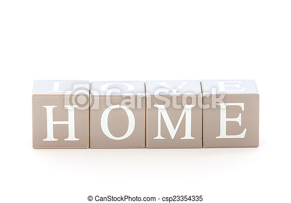 Wooden cubes wit the word home - csp23354335