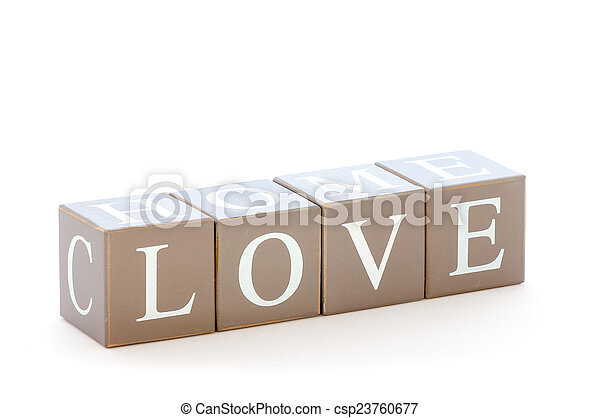 Wooden cubes wit the word love spelled - csp23760677
