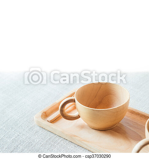 Wooden cup and saucer - csp37030290