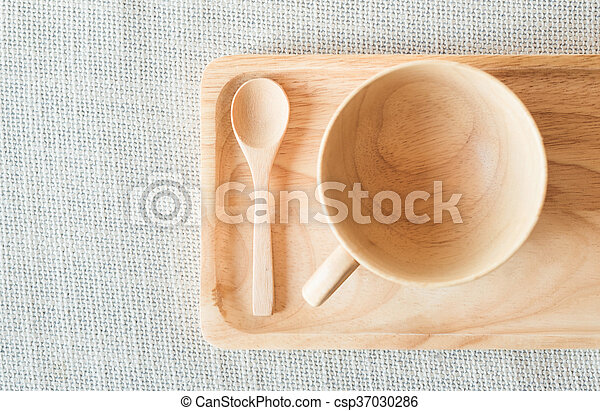 Wooden cup and spoon with saucer - csp37030286