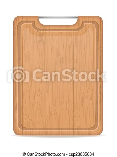 wooden cutting board with metal handle vector illustration - csp23885684