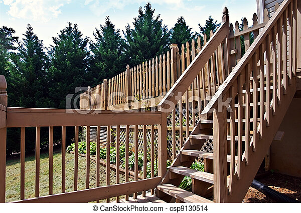 Wooden Deck with Steps - csp9130514