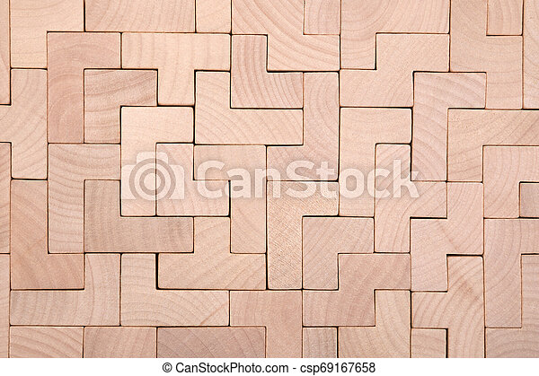 Wooden different shapes blocks background - csp69167658