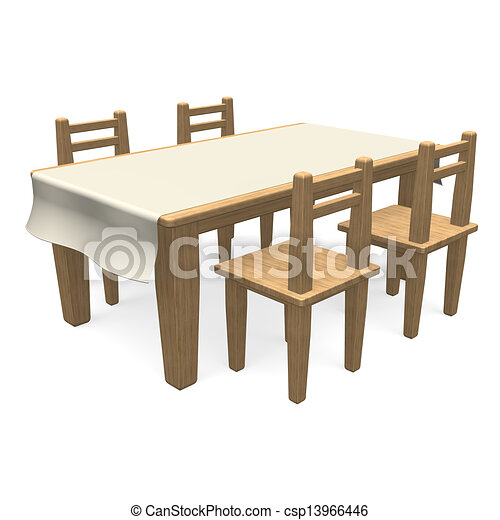 Wooden Dining Table 3d Render Illustration Isolated On White