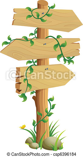 Wooden Direction Sign - csp6396184