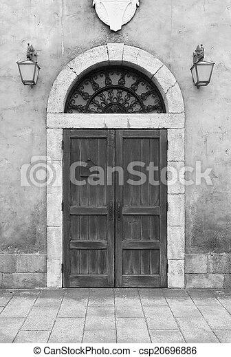 wooden door and wall - csp20696886