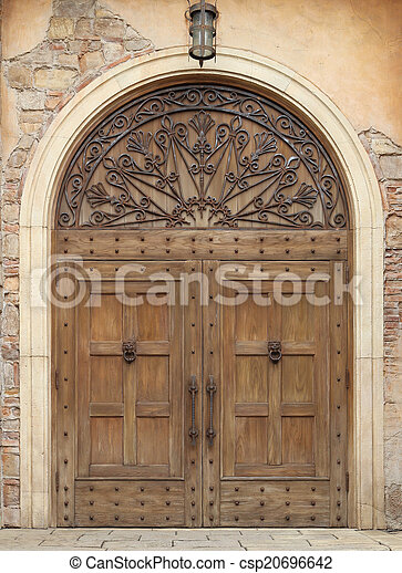 wooden door and wall - csp20696642