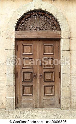 wooden door and wall - csp20696636