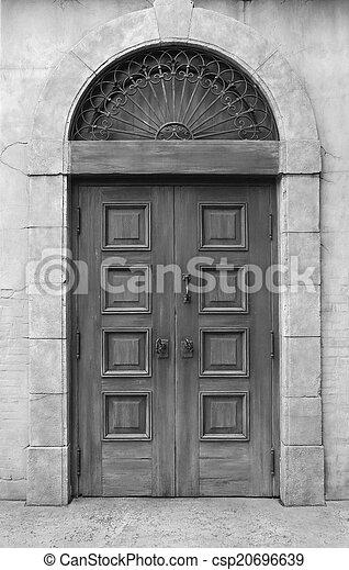 wooden door and wall - csp20696639